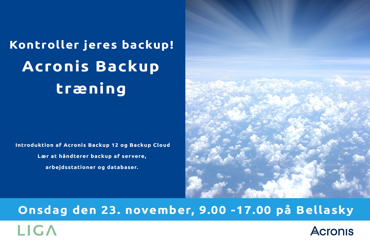 Acronis Backup 12 og Cloud kursus liga Danmark