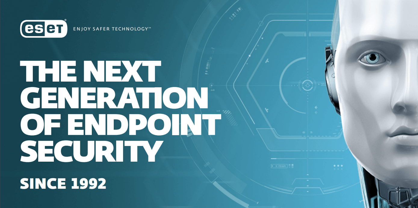 ESET: The next generation endpoint security with android robot.