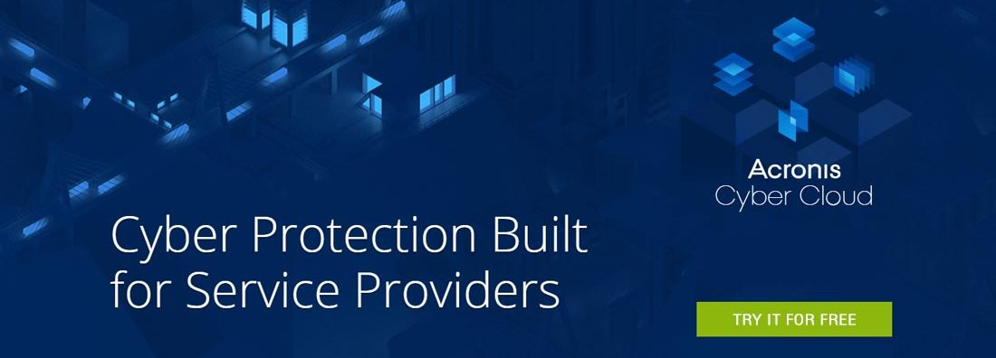 Acronis Cyber Cloud try it for free banner.